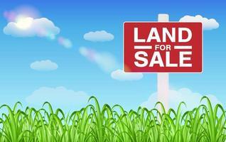 sinal de venda de terreno em campo de grama com fundo de céu vetor