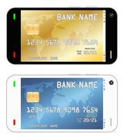 smartphone com um cartão de crédito em uma interface vetor