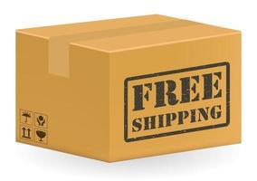 embalagem marrom caixa de produto com frete grátis vetor
