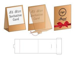 design de modelo cortado de embalagem de envelope de convite. Maquete 3D vetor