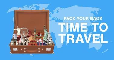 faça as malas na hora de viajar com marcos mundiais vetor