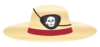 chapéu de palha com tapa-olho de pirata vetor