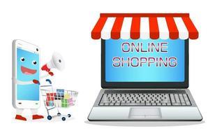 desenho animado de smartphone comprando em loja online de laptop vetor