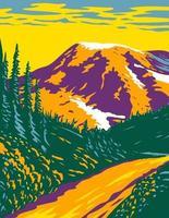 parque nacional de Mount Rainier um estratovulcão ativo nas cascatas localizado no condado de pierce e no condado de lewis no estado de washington arte de pôster wpa vetor