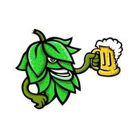 lúpulo de cerveja torrando mascote da caneca vetor