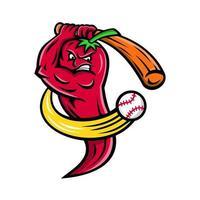 mascote de rebatidas jogador de beisebol com pimenta vermelha vetor