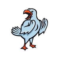 gaivota lutando contra mascote bravo vetor