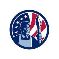artista segurando tocha de pincel mascote da bandeira dos EUA vetor
