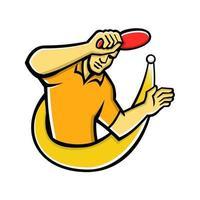 mascote jogador de tênis de mesa vetor