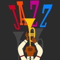 banner de jazz, tocador de trompete vetor