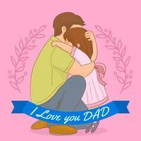 Feliz dia dos pais. pai e filha dele vetor