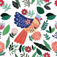 pássaro colorido de verão no jardim de flores vetor