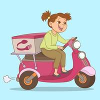 uma garota em sua motocicleta leva um pedido de comida para seu cliente vetor