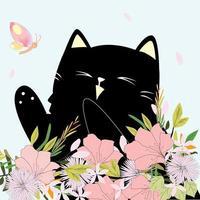 gato fofo no jardim de flores com borboleta vetor