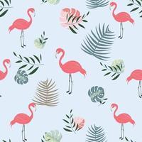 padrão sem emenda de flamingo botânico vetor