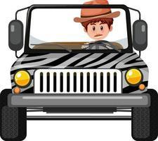 conceito de zoológico com motorista em carro jipe isolado vetor