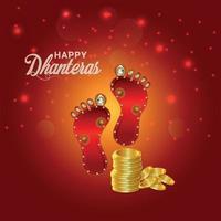 cartão comemorativo da celebração dhanteras do festival indiano feliz e plano de fundo com moeda de ouro criativa e pegada laxami da deusa vetor