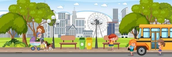 cena horizontal do parque da cidade com muitas pessoas vetor