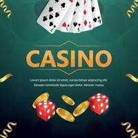fundo de jogos de azar de cassino com cartas, fichas e dados vetor