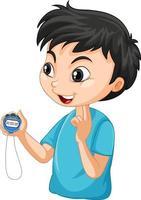 menino treinador esportivo segurando um personagem de desenho animado com cronômetro vetor