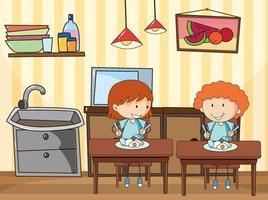 crianças pequenas na cena da cozinha com equipamentos vetor