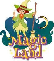fonte de terra mágica com um personagem de desenho animado de bruxa vetor
