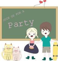 menina e menino convidam para a festa vetor