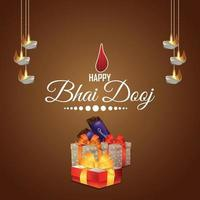 Feliz bhai dooj cartão comemorativo do festival indiano com presentes criativos vetor