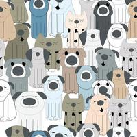 padrão de desenho animado de cachorro fofo vetor