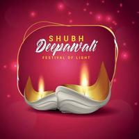 ilustração e plano de fundo realistas do vetor de diwali feliz