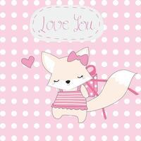 linda raposa rosa e presente de te amo vetor