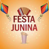 festa junina festival brasil com bandeira colorida e lanterna de papel vetor