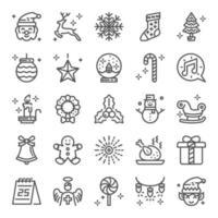 ícones perfeitos de pixel de natal vetor