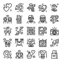 conjunto de ícones do dia dos namorados vetor