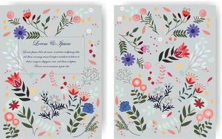 moldura de flor floral selvagem azul doce fofa para cartão de casamento vetor