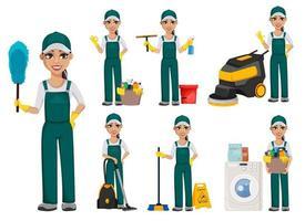 conceito de serviço de limpeza. personagem de desenho animado alegre vetor