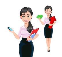 personagem de desenho animado de mulher de negócios de sucesso vetor