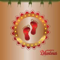Happy Dhanteras Indian Festival Celebration cartão comemorativo com pegada da deusa Durga vetor