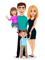 família feliz. pai, mãe, filho e filha vetor