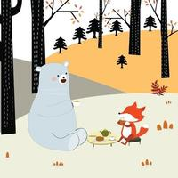 Raposa da primavera e urso de pelúcia bebendo café juntos vetor