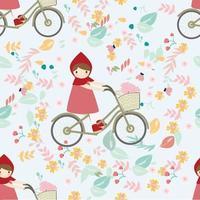 Linda garota de capuz vermelho andando de bicicleta no jardim de flores de primavera padrão sem emenda vetor