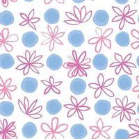 sem costura padrão floral com ornamento de bolinhas. elegante desenhado fundo pontilhado com flores. círculo texturizado abstrato e ornamento de flores. vetor