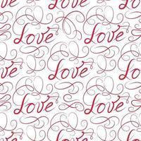 amo o padrão sem emenda. doodle fundo vinheta caligráfica ornamental com amor de letras manuscritas. vetor