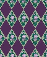 padrão floral sem emenda. fundo da flor. florescer ornamento geométrico com flores nenúfar e losango vetor