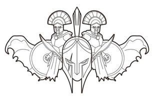 esboço do guerreiro espartano romano vetor