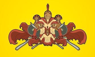 grupo de guerreiros espartanos romanos vetor