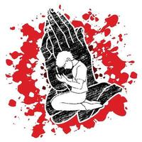 oração masculina nas mãos rezam ilustração vetor