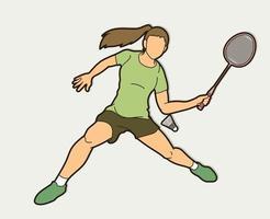 jogadora de badminton vetor