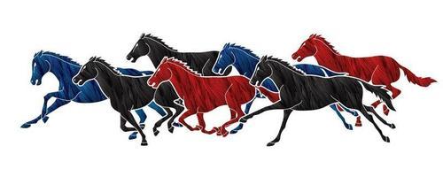 sete cavalos correndo vetor