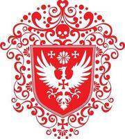 brasão de armas com águia e camisetas com design vintage grunge caveira vetor